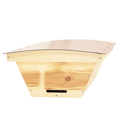 Standard top bar hive made from sugar pine with composite roof