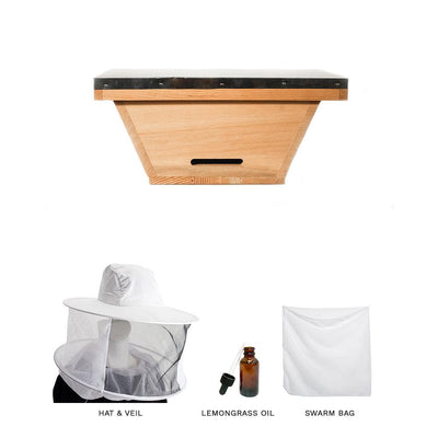 Swarm kit with Top Bar Hive nuc box, hat & veil, lemongrass oil, and a large swarm bag