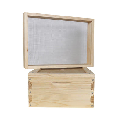 langstroth hive insulation box made from douglas fir with stainless steel mesh