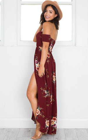 Red Floral Print Off Shoulder Boho Gypsy Style Long Dress - Surf Gypsy