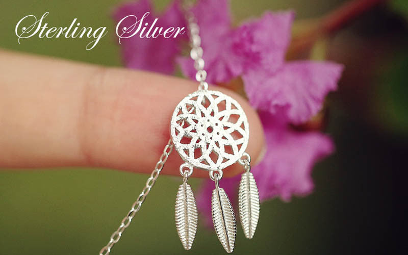 Dream Catcher Feather Necklace 925 Sterling Silver - Surf Gypsy