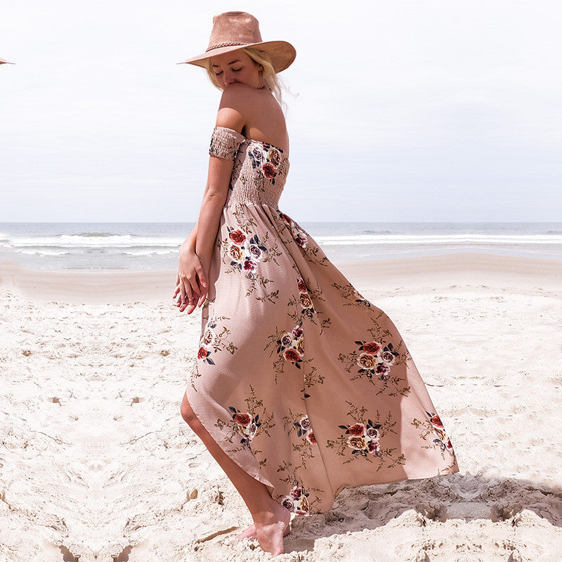 Tan Floral Print Off Shoulder Boho Gypsy Style Long Dress - Surf Gypsy