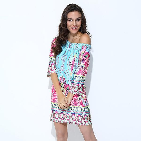 Boho Print Off Shoulder Dress - Surf Gypsy