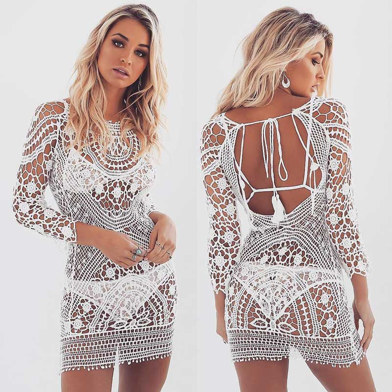 Floral Crochet Lace Mini Dress Cover Up 3/4 Sleeve - Surf Gypsy