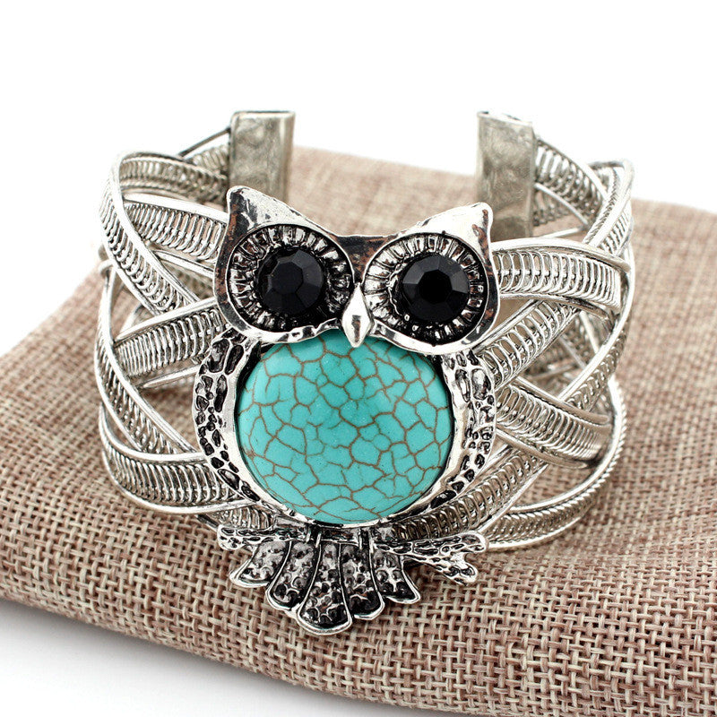 Silver Owl Bracelets with Turquoise Stone - Surf Gypsy