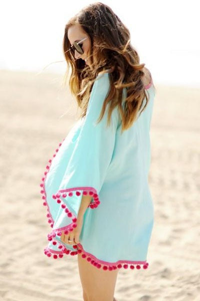 Blue Pom Pom Beach Cover-Up - Surf Gypsy