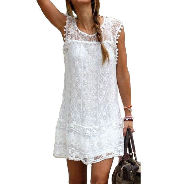 Sleeveless Lace Short Dress With Pom Poms (Plus Sizes) - Surf Gypsy