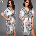 Summer Print Deep V Neck Casual Dress - Surf Gypsy