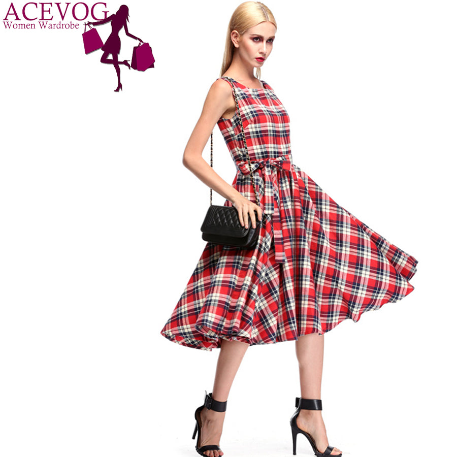 Plaid Vintage Style Sleeveless Casual Dress With Belt - Surf Gypsy