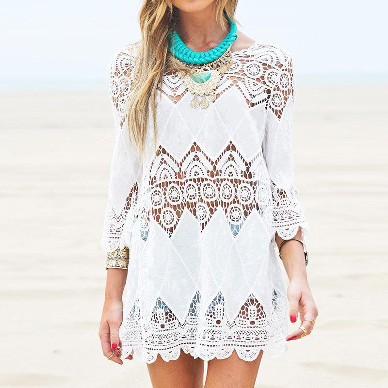 Mini Dress, Half Sleeve with Crochet Lace Design Cover Up - Surf Gypsy
