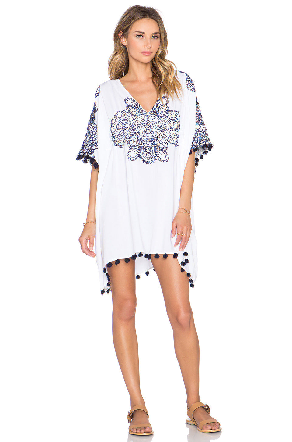 Blue Vintage Print Cover-Up With Tassels - Surf Gypsy