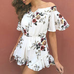 Off Shoulder, Floral Print, Ruffle Jumpsuit, Romper - Surf Gypsy