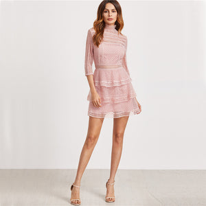 Pink Vintage High Neck 3/4 Sleeve Layered Mini Dress - Surf Gypsy