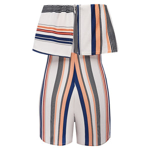 Multi Color Striped Off Shoulder Romper - Surf Gypsy
