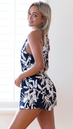 Floral Tropical Print Halter Top Romper - Surf Gypsy