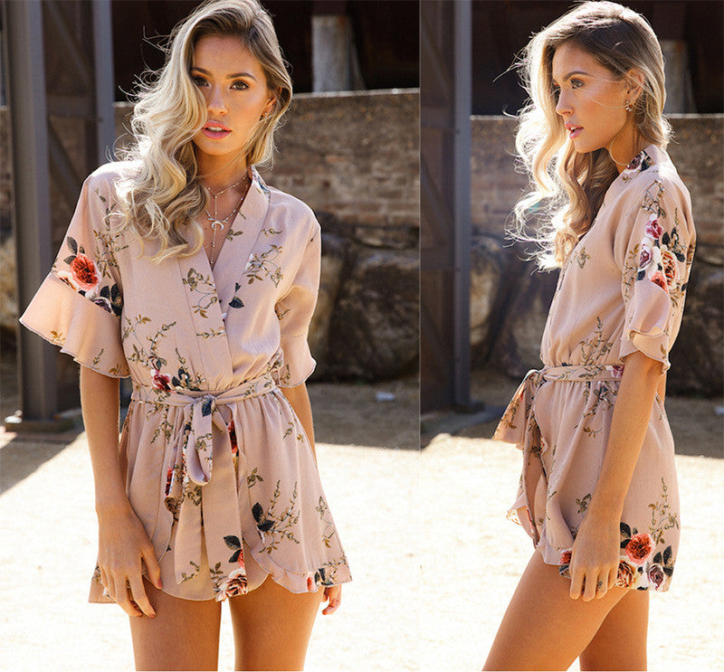 Blush Color Floral Wrap Romper - Surf Gypsy