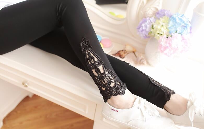 Cotton Legging With Lace Cut Out Design - Surf Gypsy