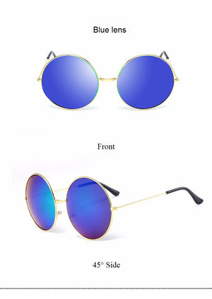 Oversized Round Frame Mirror Sunglasses - Surf Gypsy
