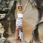 Coffee Boho Printed One-Size Ankle-length Split Skirt - Surf Gypsy
