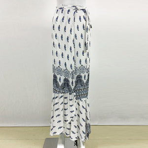 Light Blue Boho Printed One-Size Ankle-length Split Skirt - Surf Gypsy