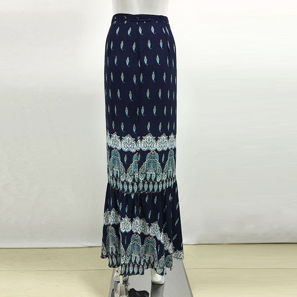 Bright Blue Boho Printed One-Size Ankle-length Split Skirt - Surf Gypsy