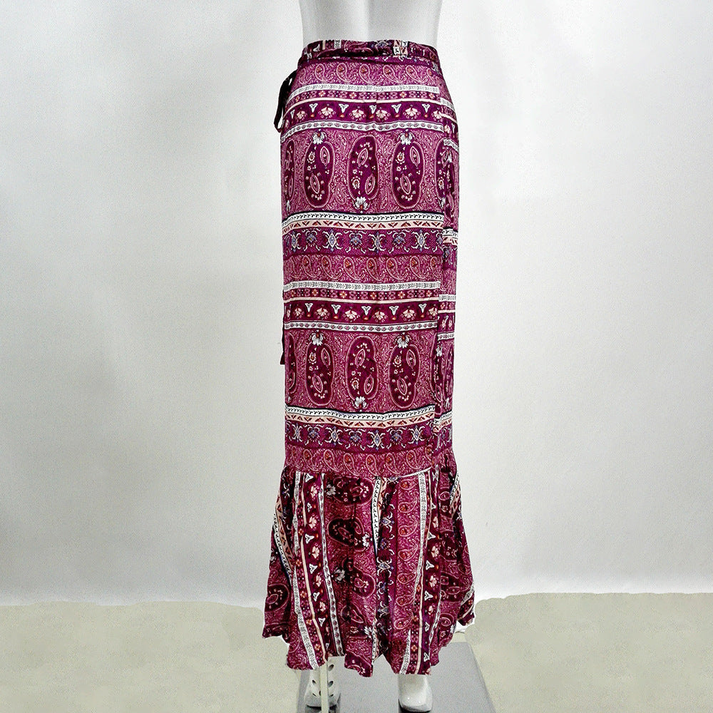 Rose Red Boho Printed One-Size Ankle-length Split Skirt - Surf Gypsy