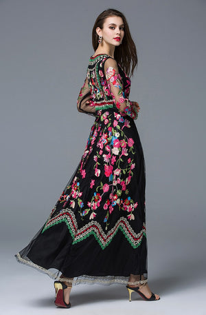 Long Sleeve Vintage Style Floral Embroidered Dress - Surf Gypsy