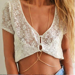 Gold Body Chain Necklace, Bikini Belly Harness - Surf Gypsy
