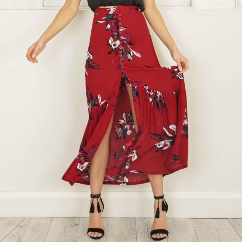 Red High waist floral print vintage boho long maxi skirt - Surf Gypsy