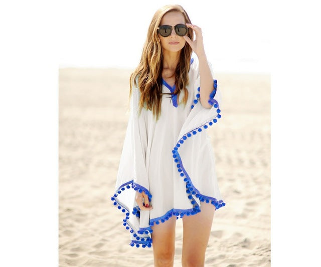 White Pom Pom Beach Cover-Up - Surf Gypsy