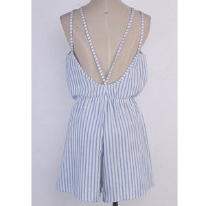 Blue & White Striped Halter Top Romper - Surf Gypsy