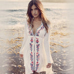 Deep V-Neck Floral Embroidered Long Sleeve Cover Up - Surf Gypsy