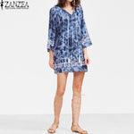 Tie Dye V Neck 3/4 Sleeve Boho Casual Mini Dress - Surf Gypsy