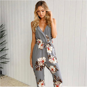 Gray Floral Full Length Printed Casual Romper - Surf Gypsy