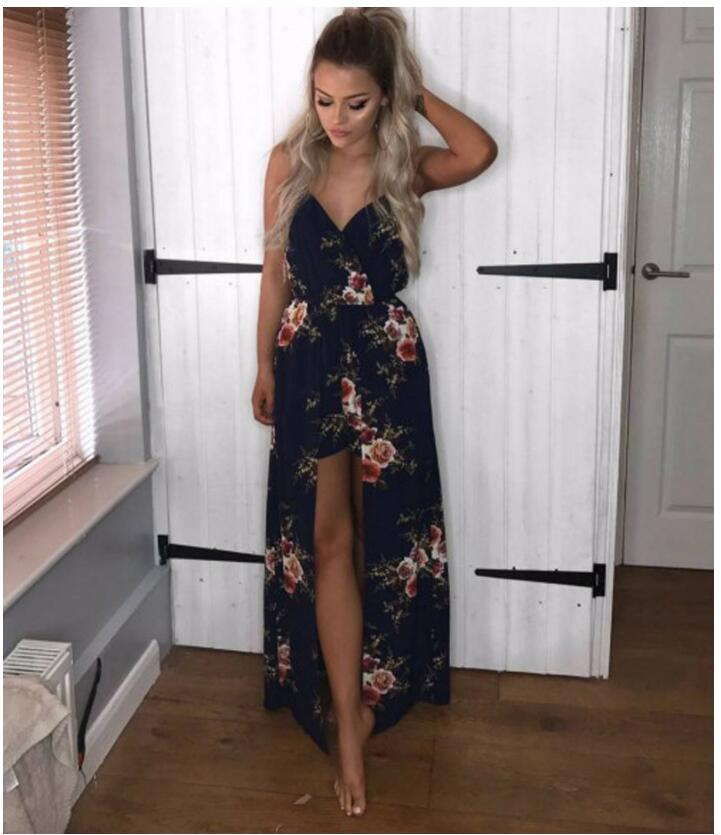 Blue Floral Full Length Printed Casual Romper - Surf Gypsy