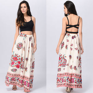 Apricot Boho Beach High Waist Long Vintage Floral Skirt - Surf Gypsy