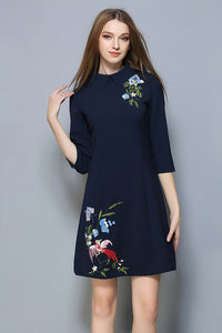 Embroidered Floral With Bird Casual Dress - Surf Gypsy