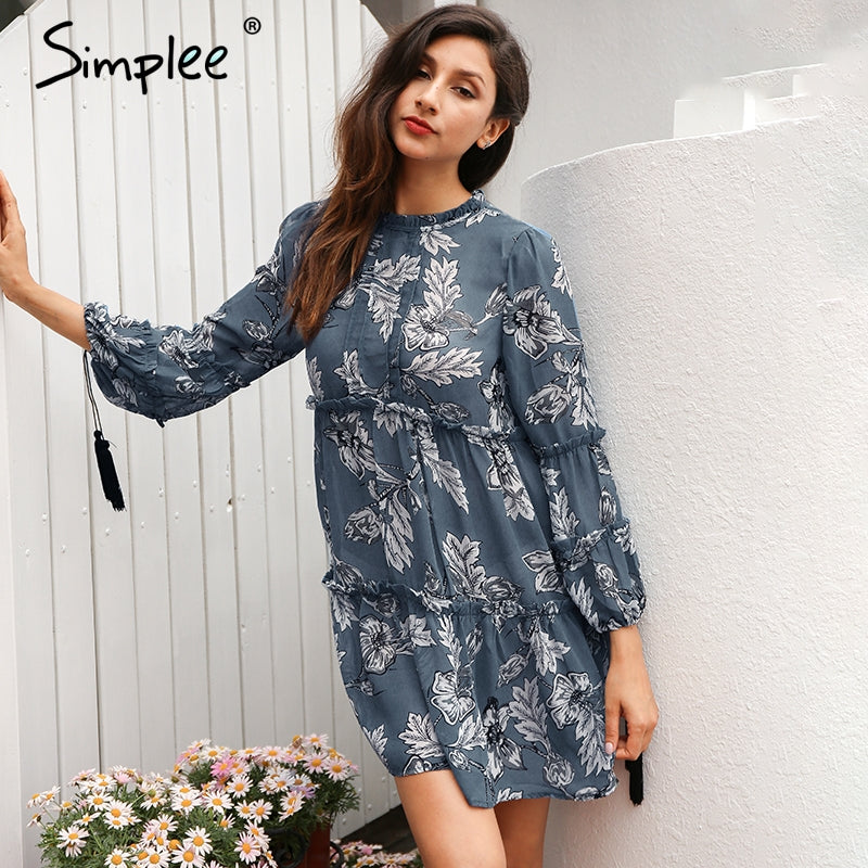 Boho Floral Print Long Sleeve Tassel Dress - Surf Gypsy