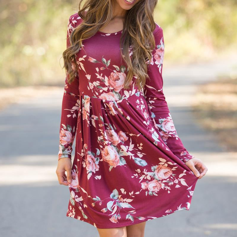 Long Sleeve Floral Print Mini Dress - Surf Gypsy