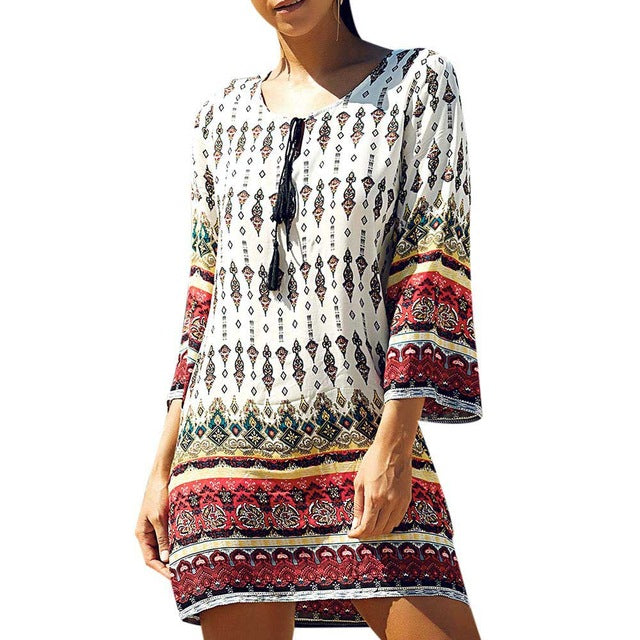 Vintage Print Long Sleeve Mini Dress - Surf Gypsy