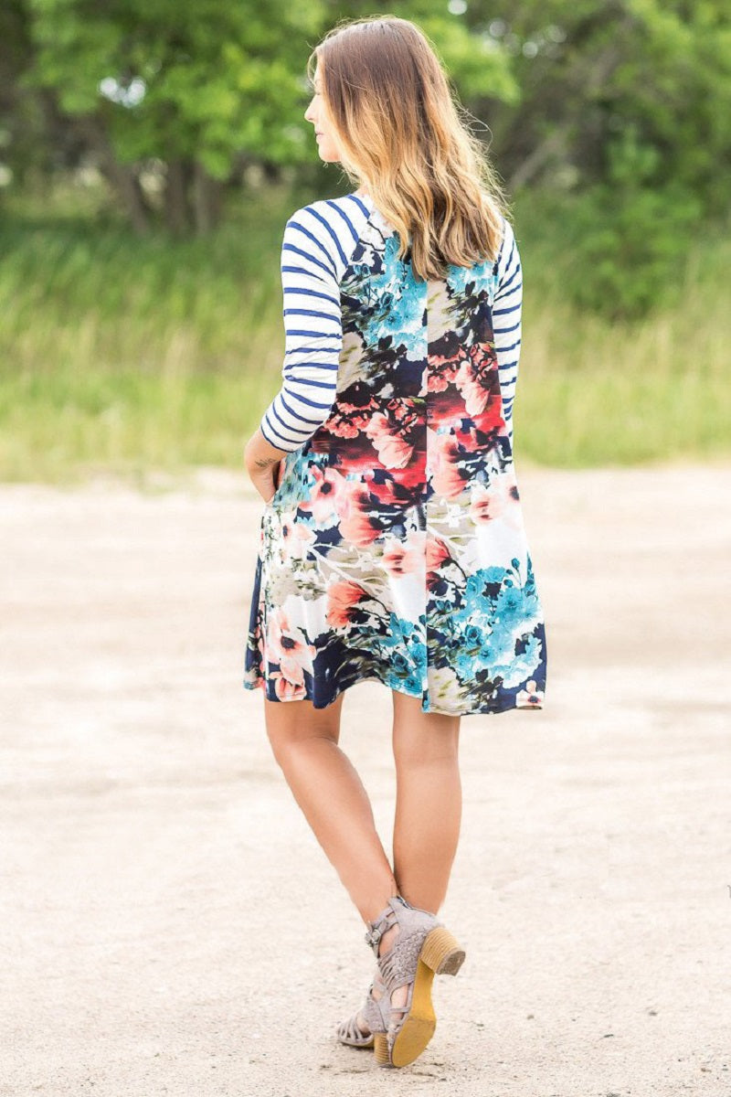Floral Patchwork Striped Casual Dress - Surf Gypsy