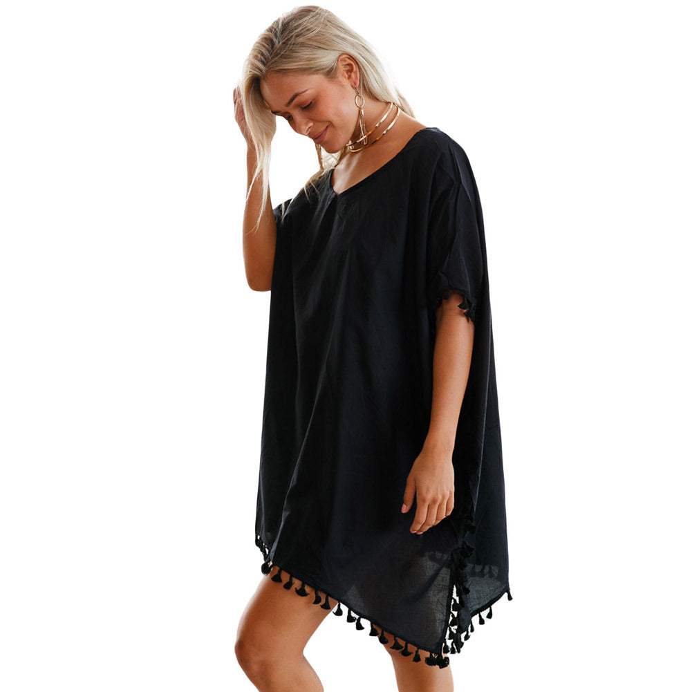 Solid Cover-Up With Tassels - Surf Gypsy