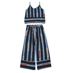 Two Pieces Set Spaghetti Straps Cami Top And Mid Elastic Waist Striped Gaucho Pants - Surf Gypsy