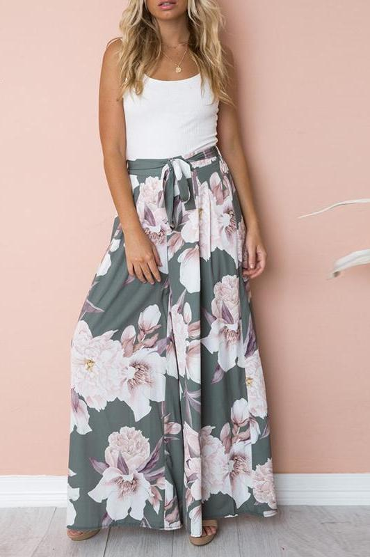 Gray Floral Print Wide Leg Casual Pants with Belt - Surf Gypsy