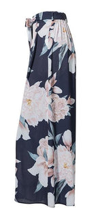 Blue Floral Print Wide Leg Casual Pants with Belt - Surf Gypsy