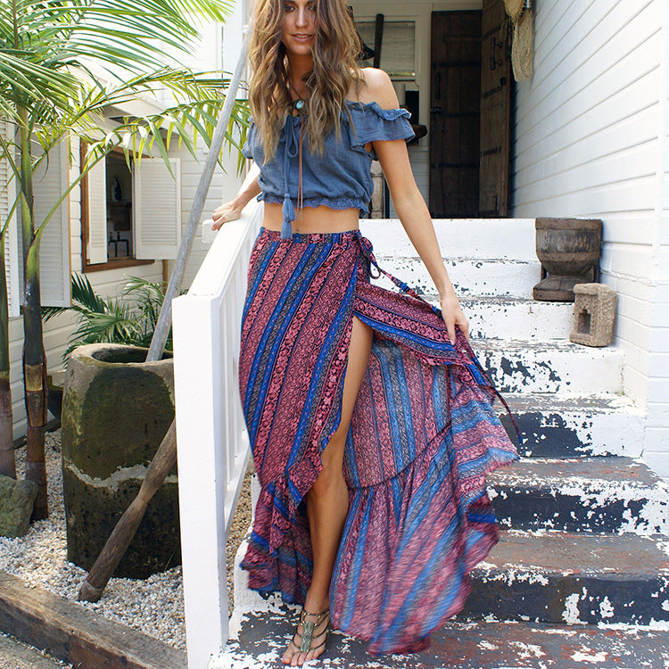 Rose Red & Blue Boho Printed One-Size Ankle-length Split Skirt - Surf Gypsy