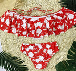 Red Floral Off Shoulder High Waist Two-Piece Swimsuit - Surf Gypsy