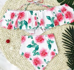White Pink Floral Off Shoulder High Waist Two-Piece Swimsuit - Surf Gypsy