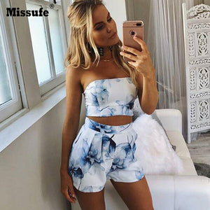 Strapless Two-Piece Blue Floral Print Romper - Surf Gypsy