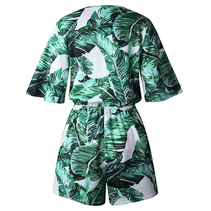 Tropical Print Wrap Front Boho Romper With Tassels - Surf Gypsy